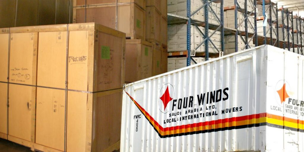 Crates and storage containers of Four Winds Saudi Arabia.