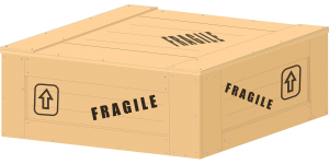 "A custom made wooden crate marked ""fragile"" as part of relocation services Saudi Arabia"