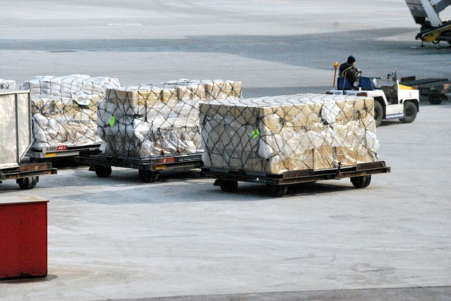 Air freight, loading goods into a plane.