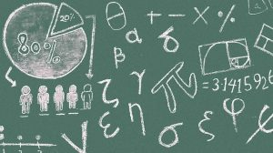 A math formula on black board.