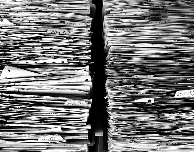 Piles of papers.