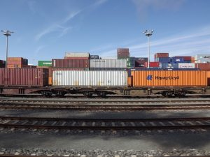 Train freight. Transportation by a train