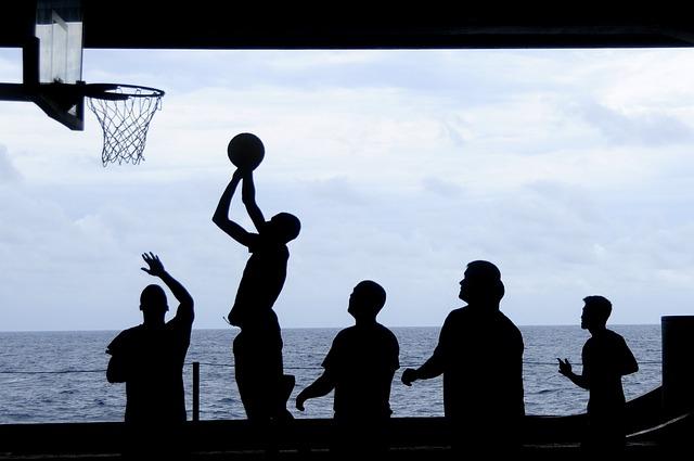 Friends play basketball