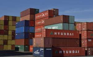 Cargo containers stacked
