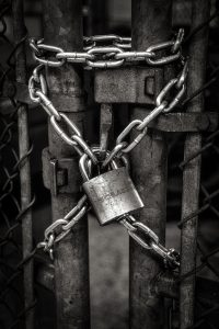 Chain and lock on a container