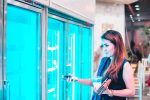 Fridges in supermarkets form part of a cold chain logistics