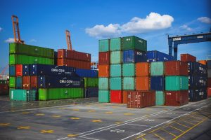 cargo transportation in 10-foot containers with containers of various colors