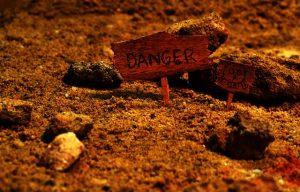 Small danger sign warning about hazardous materials