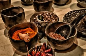 Different spices on a table