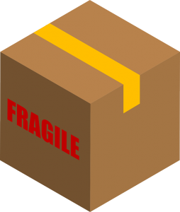 Box with fragile sign on it