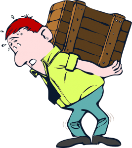 Illustration of a man lifting heavy crate