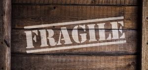 Fragile sign on a crate