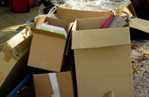 Cardboard boxes with items