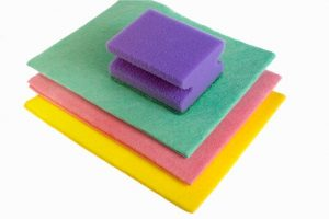 Cleaning cloths and a sponge