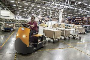 Worker in a storage