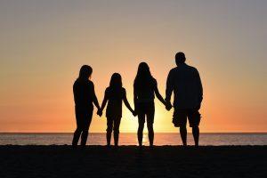 Family in sunset