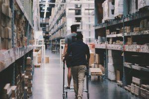 Men finding a good business warehouse