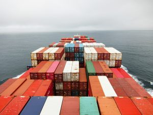 Ship with containers