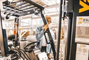 A girl with forklift