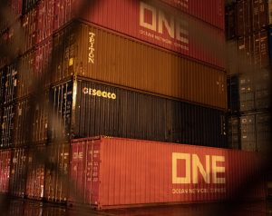 Containers at dark