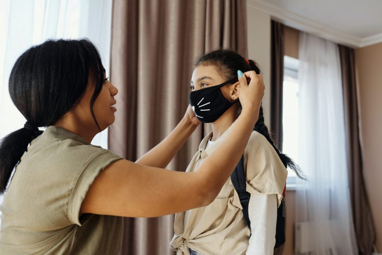 Children have to wear masks to school.