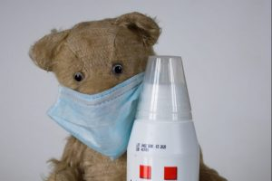 Teddy bear with hand sanitizer