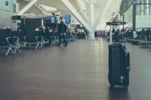 Airport and suitcase