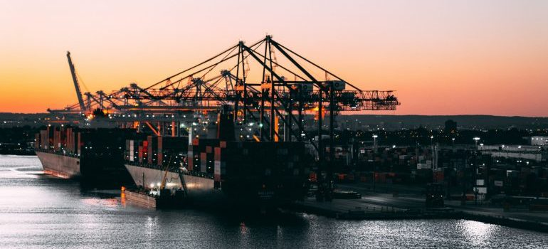 A freight forwarder in a port
