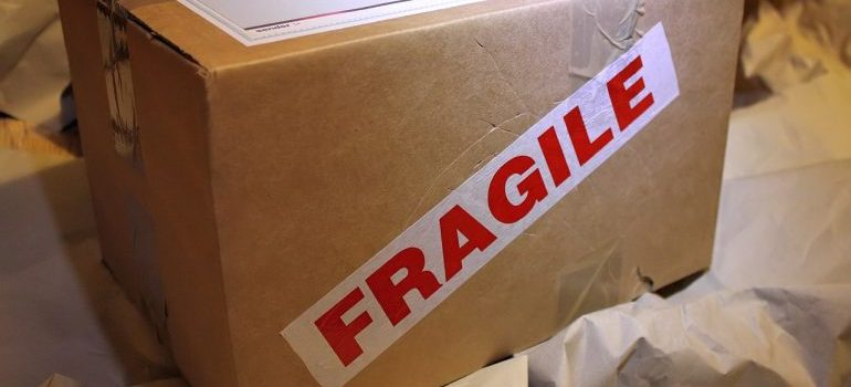 A box labeled with fragile sign