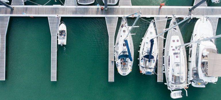 Yachts anchored at the port
