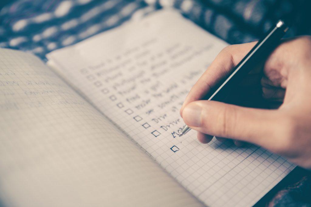 Checklist in notebook
