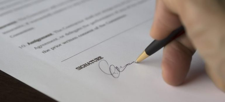 person signing documents