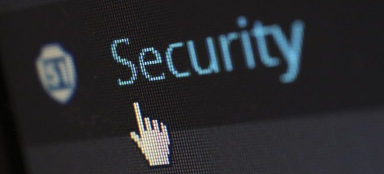 Cursor showing the word security on the screen