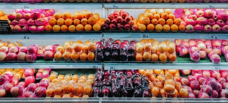 Fruits on glass top display counter