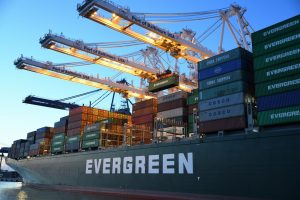 Evergreen cargo ship