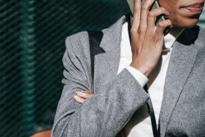 Business woman talking over the phone