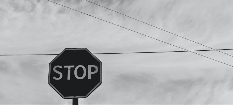 a stop sign in black and white