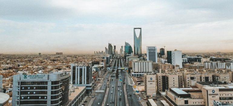 Panoramic view of city buildings and skyscrapers somewhere in Saudi Arabia.