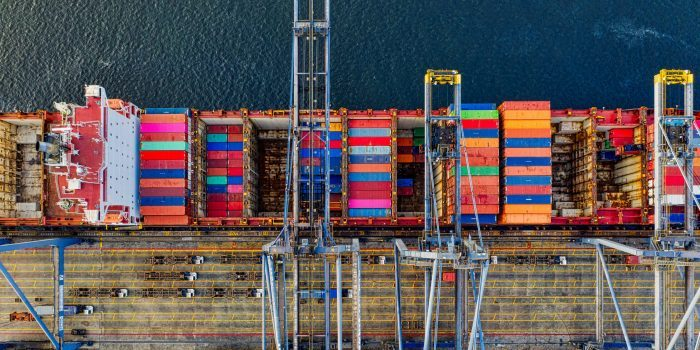 A photo of containers in port