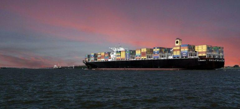 A cargo ship on the sea