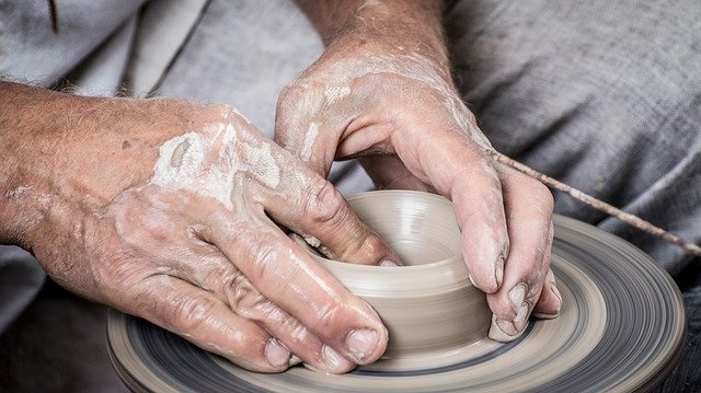 Making clay items.