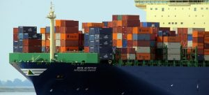 large ship with containers, shipping during summer