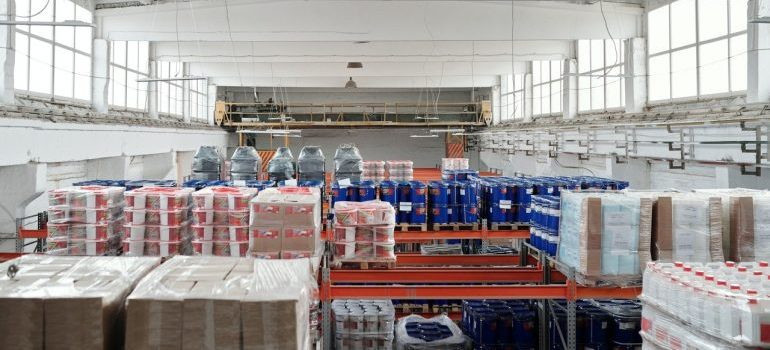 Nicely organised food storage used before frozen food shipping
