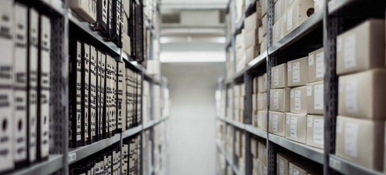 neatly organized warehouse shelves