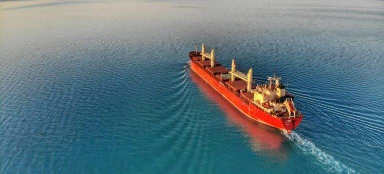 a ship in the open sea