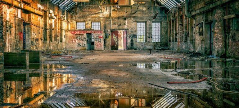 flooded large warehouse