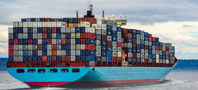 shipping containers on a ship