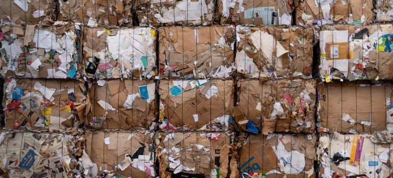 cardboard pressed into cubes at the recycling center