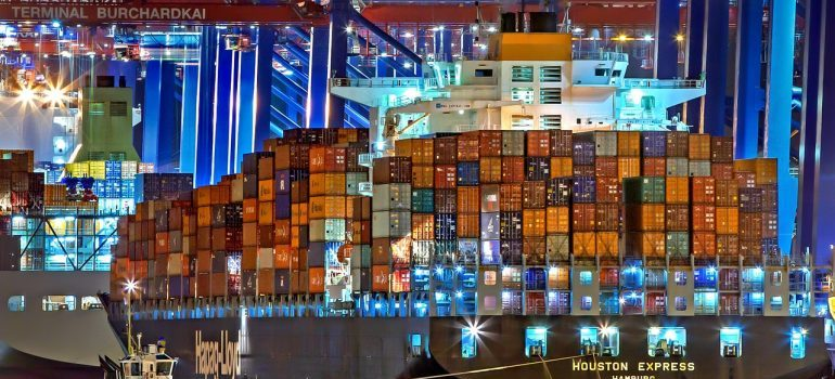 Ship with containers.