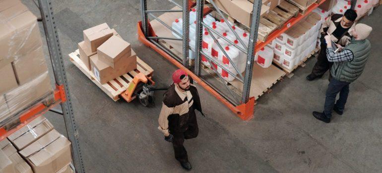 Warehouse guys working